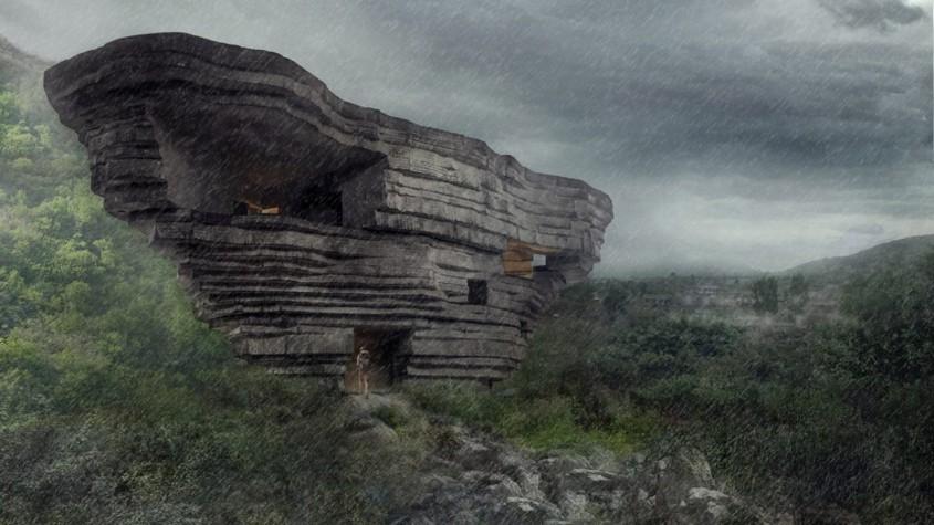Capela Sunetului, o clădire ce pare desprinsă din stâncile care o înconjoară