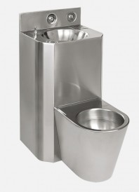 Combinatie de lavoar si vas WC suspendat din otel inox, antivandal - SANELA SLWN 38Z