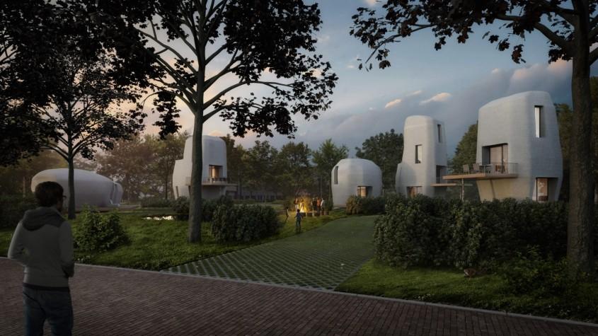Viitorul construcțiilor? În Olanda se construiește o micro-comunitate de case imprimate 3D