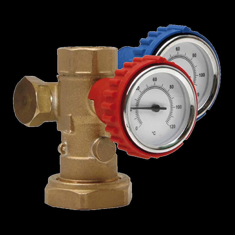 Robinet cu termometru si racord pentru pompa (rosu/albastru)