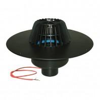 Receptor cu scurgere verticala pentru acoperis plat cu guler din PP si incalzire (10 - 30