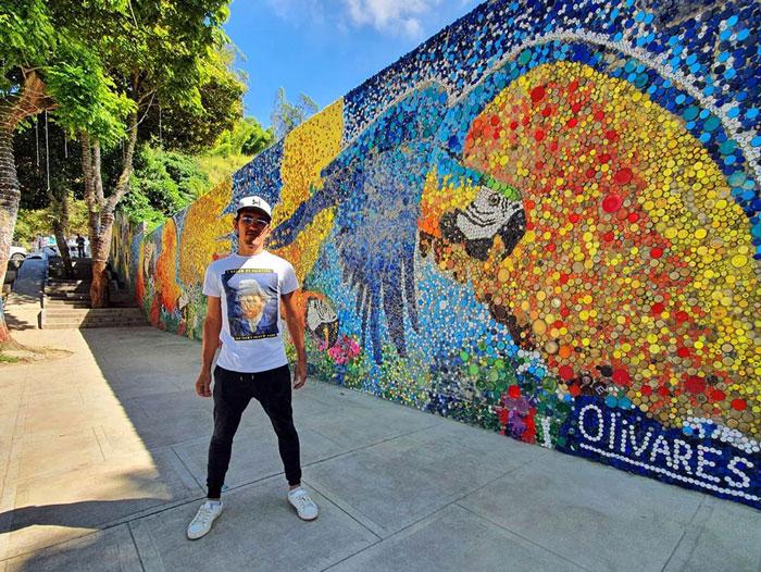 O lucrare murală captivantă realizată cu ajutorul a 200.000 de capace din plastic