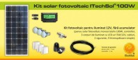 Kit (sistem) solar fotovoltaic ITechSol® 100W pentru iluminat - KIT100W12VFA