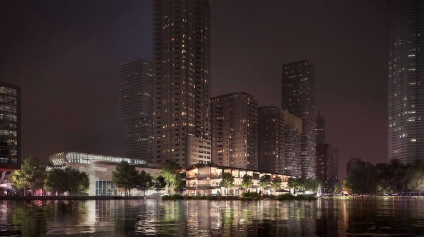 O clădire de birouri plutitoare complet off-grid este construită pe un râu din Europa