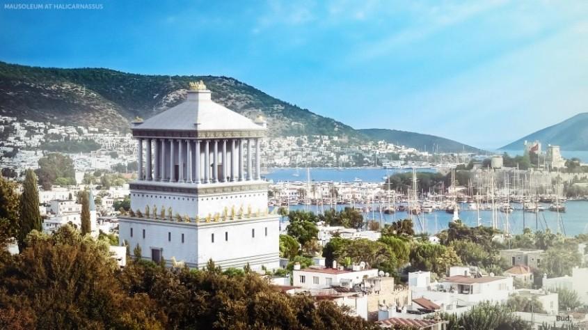 """Mausoleul din Halicarnas  <p>Atat de remarcabil a fost mormantul construit in orasul turcesc Bodrum de astazi pentru regele Mausol al Cariei, care i-a imprumutat si numele, incat a dat nastere unui nou tip de constructie. Monumentul a fost finalizat in jurul anului 350 i.HR., fiind  opera arhitectilor Pytheos si Satyros. Sculptori faimosi precum Bryaxis, Leochares,<span style=""""font-size: inherit;"""">Scopas si Timotheos au fost invitati sa contribuie la desavarsirea monumentului</span>din marmura alba<span style=""""font-size: inherit;"""">, fiecaruia revenindu-i o parte din cladire pentru a-si exprima talentele artistice. In consecinta, arhitectura cladirii a reunit caracteristici grecesti, egiptene si liciane. Mausoleul din Halicarnas a fost distrus in urma numeroaselor cutremure din secolul al XIII-lea.</span></p>"""