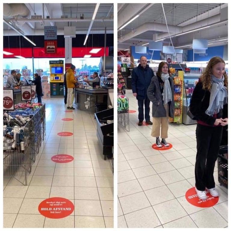 Solutia gasita de un supermarket din Danemarca pentru ca clientii sa pastreze o distanta sigura intre