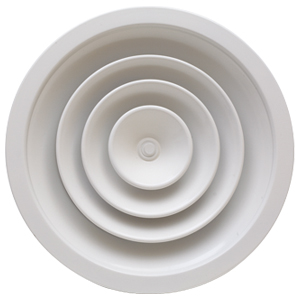Difuzoare circulare cu conuri fixe cu corp central detasabil si registru de reglaj tip fluture - CFC+RC