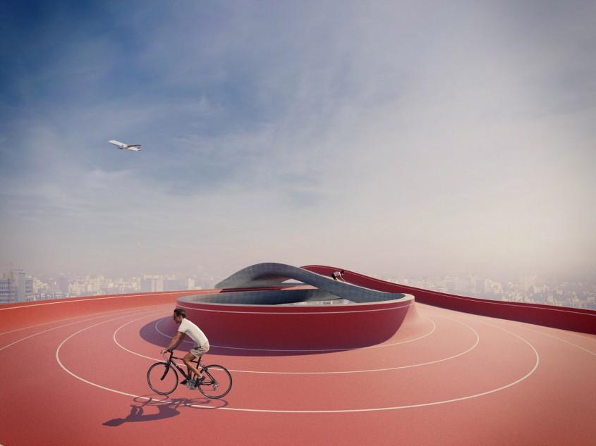 Şcoala Pădure, cu o pistă pentru biciclete pe acoperiş