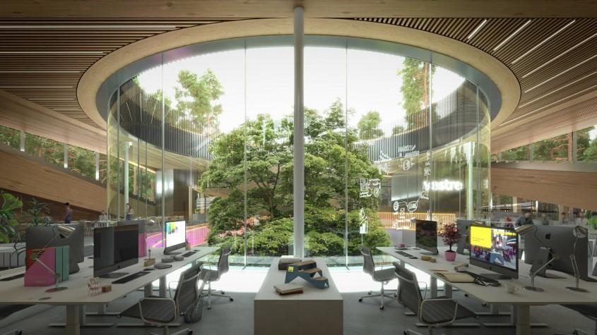 O fabrică de mobilă în mijlocul pădurii, exemplu de arhitectură sustenabilă