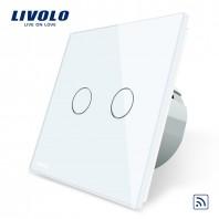 Intrerupator dublu wireless cu touch Livolo din sticla - VL-C702R
