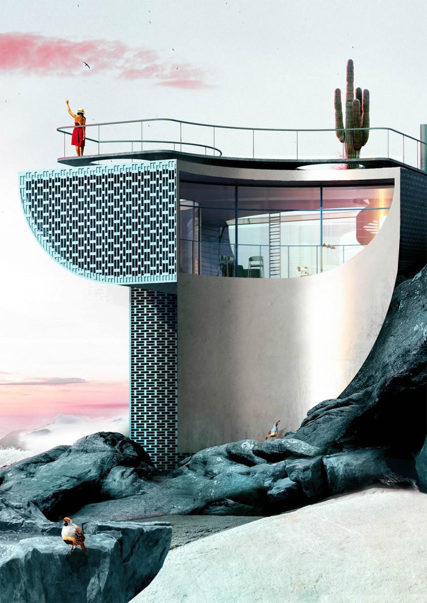 O vilă cu piscina pe post de faţadă