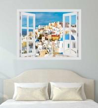 Fereastra cu efect 3D - Santorini, Grecia - 119x93 cm