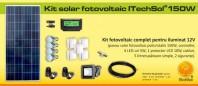 Kit (sistem) solar fotovoltaic ITechSol® 150W pentru iluminat - KIT150WM12VFA