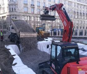 Umplutură cu greutate redusă peste planșeul unui garaj subteran din Budapesta