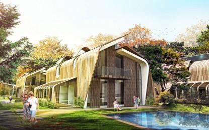 Schita fatada realizata cu panouri HPL cu finisaj furnir Vila din cadrul complexului rezidential KNDU Antalya