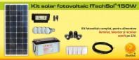 Kit (sistem) solar fotovoltaic 150W pentru iluminat - KIT150WP12V