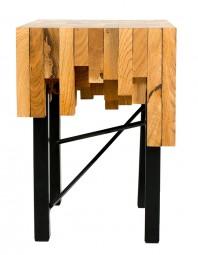 Masuta de cafea din stejar si fier, unica - Puzzle