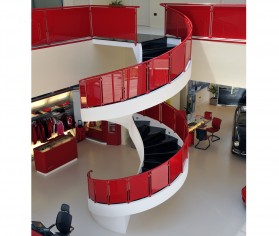Scara interioara cu balustrade din sticla Showroom Ferrari Otopeni
