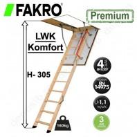 Scara din lemn pentru acces in pod - FAKRO LWK Komfort H 305