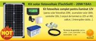 Kit (sistem) solar fotovoltaic ITechSol® 20W pentru iluminat - KIT20W12V
