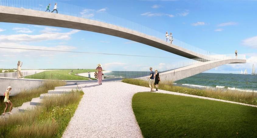 O platformă suspendată leagă orașul de mare în nordul Olandei