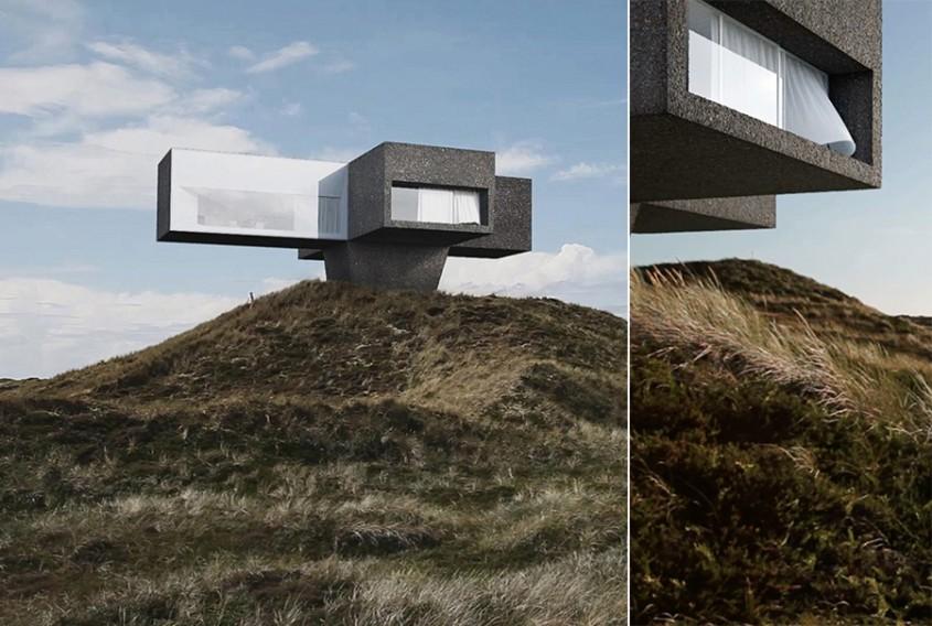 O casă ca desprinsă dintr-un film de Polanski construită pe coasta Mării Nordului