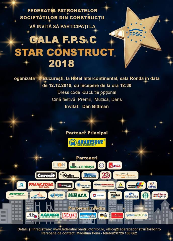 Federația Patronatelor Societăților din Construcții vă invită la Gala Star Construct 2018