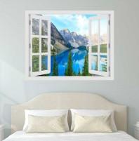 Fereastra cu efect 3D - Lacul Moraine, Canada - 119x93 cm