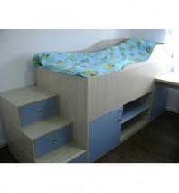 Dormitor tineret, pat cu scara stil sertare M0002
