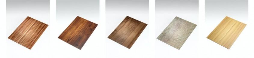 African Zebrano // Aged Oak // European Walnut // Antique Pine // Coco Bolo (de la stanga la dreapta)