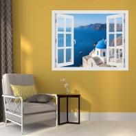 Fereastra cu efect 3D - Satul Oia, Insula Santorini - 119x93 cm