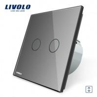 Intrerupator draperie cu touch Livolo din sticla - VL-C702W