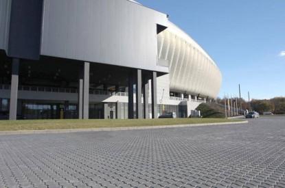 Amenajare in exteriorul stadionului cu pavaj Frunza F4 antracit  Cluj-Napoca ELIS PAVAJE