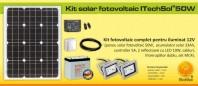 Kit (sistem) solar fotovoltaic ITechSol® 50W pentru iluminat - KIT50W12V