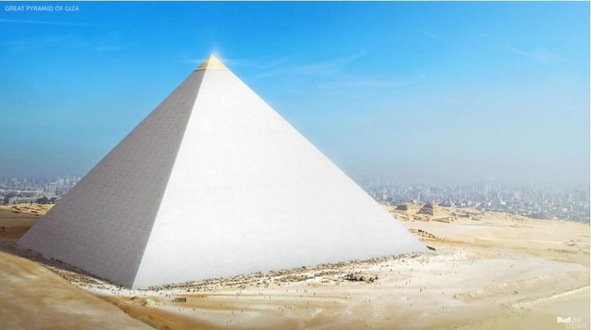 Marea Piramida din Giza <p>Singura dintre cele sapte minuni ale lumii antice care a ramas in picioare pana in zilele noastre, Piramida din Giza, Egipt, are 139 de metri inaltime si a fost construita in urma cu 4.500 de ani, din pietre care cantareau intre 2,5 tone si 15 tone fiecare. Pe marginea urmelor descoperite in urma excavarilor, arheologii estimeaza ca pana la 100.000 de muncitori calificati, dar si bine hraniti, de prin toata tara s-au mutat intr-o asezare temporara pe timpul lucrarilor la constructia care a perplexat generatiile ce au urmat. Artistii ne-o infatiseaza cum arata ea in vremurile antice,  cand era acoperita cu placi albe de calcar.</p>