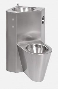 Combinatie de lavoar si vas WC din otel inox cu butoane piezo - SANELA SLWN 18PP