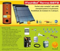 Pachet solar (kit) complet apa calda menajera pentru 5-6 persoane - ITechSol® Termo 56T2