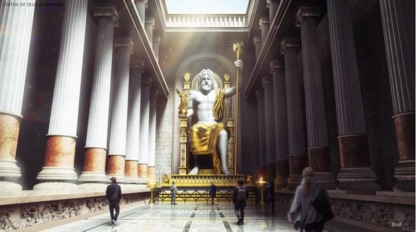 Statuia lui Zeus <p>Inalta de 13 metri, statuia placata cu fildes si aur infatisandu-l pe Zeus pe tron a fost realizata de sculptorul Fidias intre 441 si 433 i.Hr intr-un templu din Olimpia. Cadrul statuii criselefantine si tronul din lemn nu au trecut testul focului, lucrarea fiind distrusa intr-un incendiu in anul 475, la Constantinopol (Istanbulul de astazi), unde fusese mutata dupa ce printr-un decret din anul 392 s-a decis inchiderea templelor pagane si interzicerea Jocurilor Olimpice.</p><p><br /></p>