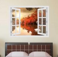 Fereastra cu efect 3D - Lebada in apus de soare - 119x93 cm