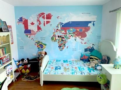 Camera copilului cu fototapet - harta lumii  Sadu, jud Sibiu TOP RESERVE BUSINESS
