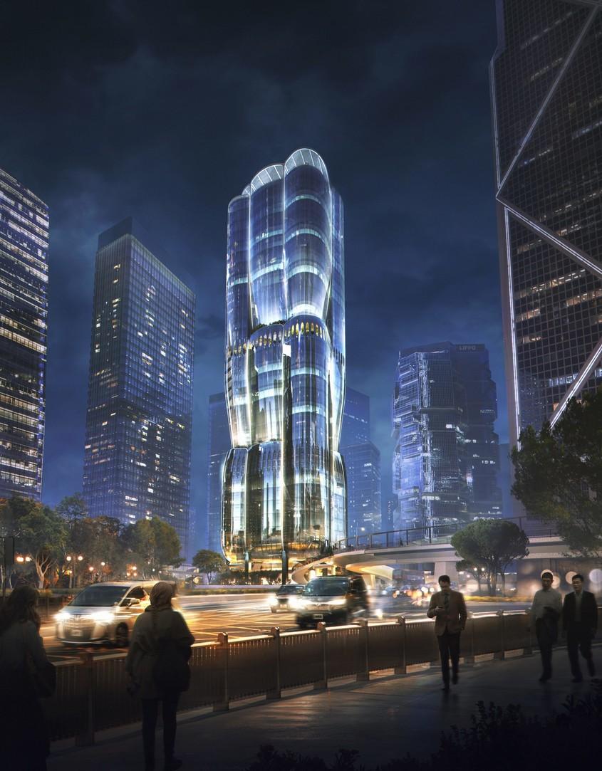 Un zgârie-nori marca Zaha Hadid Architects ca un boboc pe cale să se deschidă