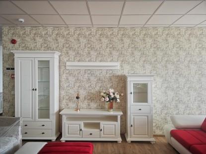 Camera cu mobilier alb si tapet  model 5-1282 Gamma Argint-Cafea  Bucuresti TOP RESERVE BUSINESS