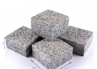 Piatra Cubica Granit Gri Sare si Piper Fatetata 4 laterale 10 x 10 x 5 cm