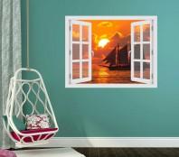 Fereastra cu efect 3D - Sunset boat sailing - 119x93 cm