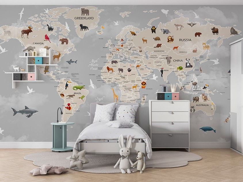 Cum poate fi folosit fototapetul cu harta lumii în amenajările interioare?