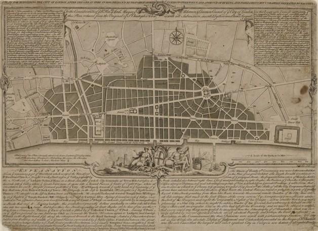 Planul lui Christopher Wren pentru reconstruirea Londrei dupa Marele incendiu/RIBA