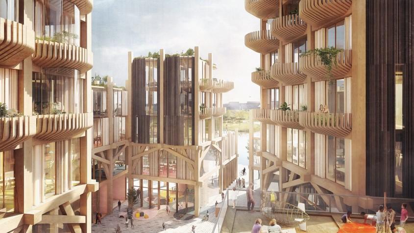 Un oraș cu clădiri din lemn tuneluri subterane conduse de roboți și internet 5G gratis pentru