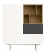 Dulap dormitor, alb si gri mat, cu trei sertare - White Nature