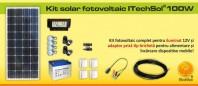 Kit (sistem) solar fotovoltaic ITechSol® 100W pentru iluminat - KIT100W12V
