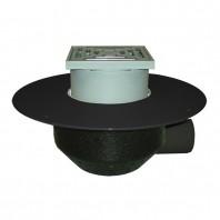 Receptor cu scurgere orizontala pentru acoperis, cu guler din PP si gratar pentru trafic - HL64BF